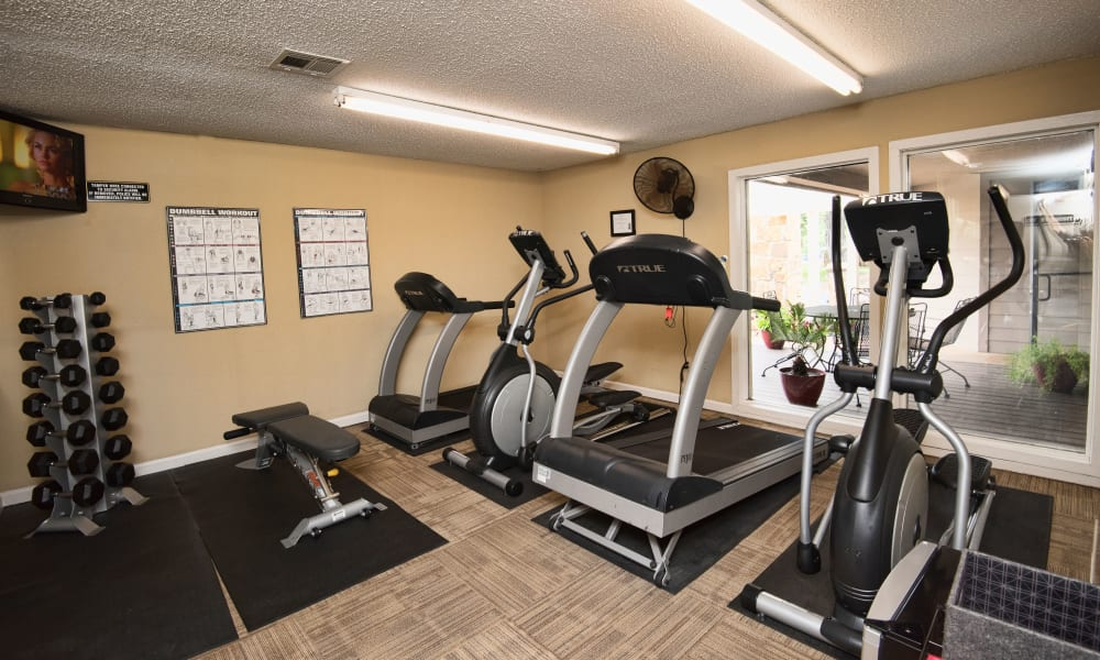 Fully equipped gym for residents at Aspen Park Apartments in Wichita, Kansas