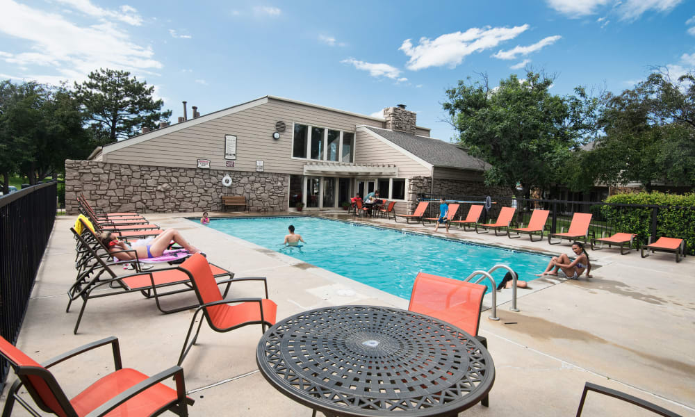 Resort style pool at Aspen Park Apartments in Wichita, Kansas