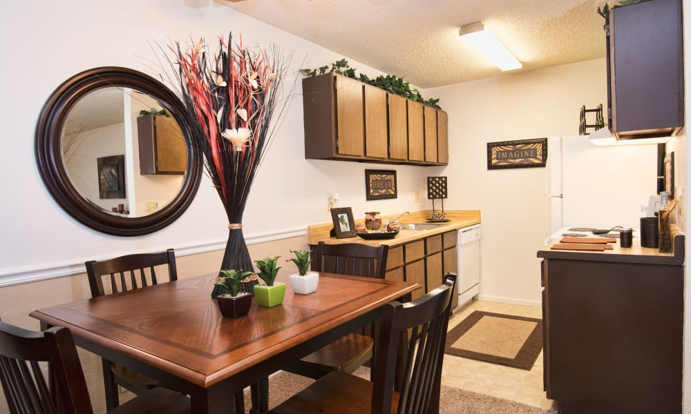 A well decorated dining room table at Aspen Park Apartments in Wichita, Kansas