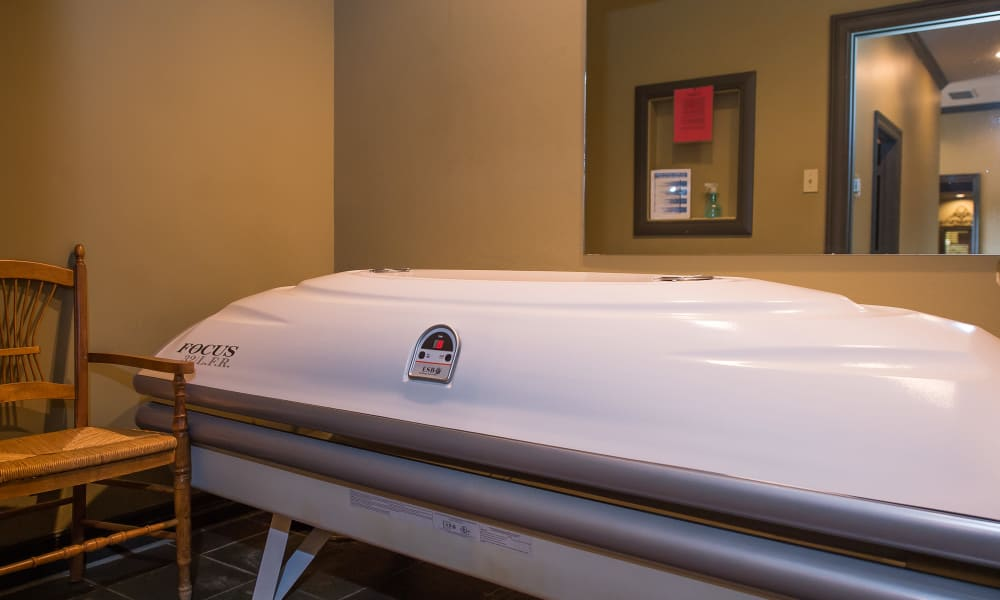 A tanning bed at Arbors of Pleasant Valley in Little Rock, Arkansas