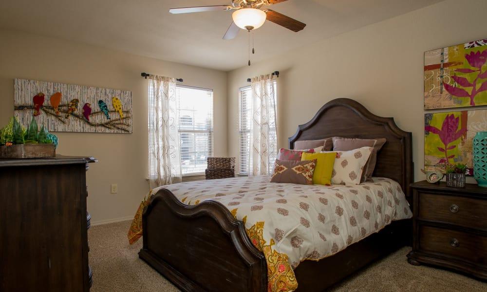 Carpeted bedroom at Villas at Canyon Ranch in Yukon, Oklahoma