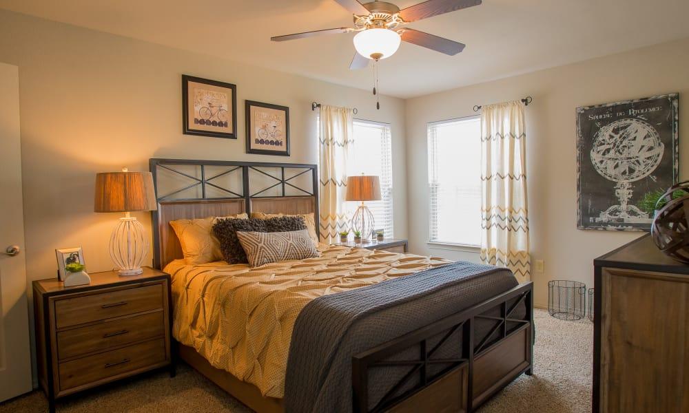 Master bedroom at Cascata Apartments in Tulsa, Oklahoma