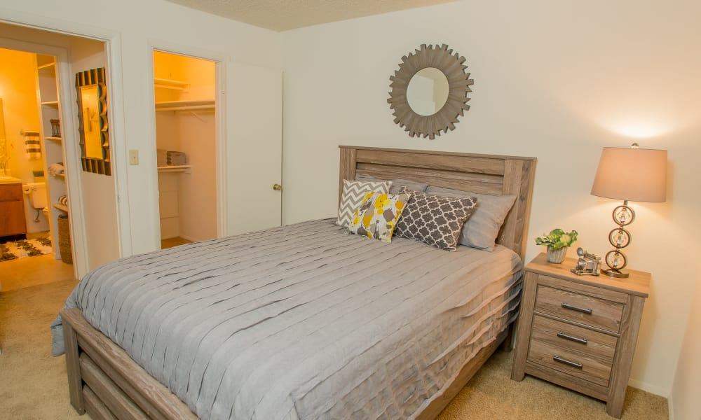 Cozy bedroom at Cedar Glade Apartments in Tulsa, Oklahoma