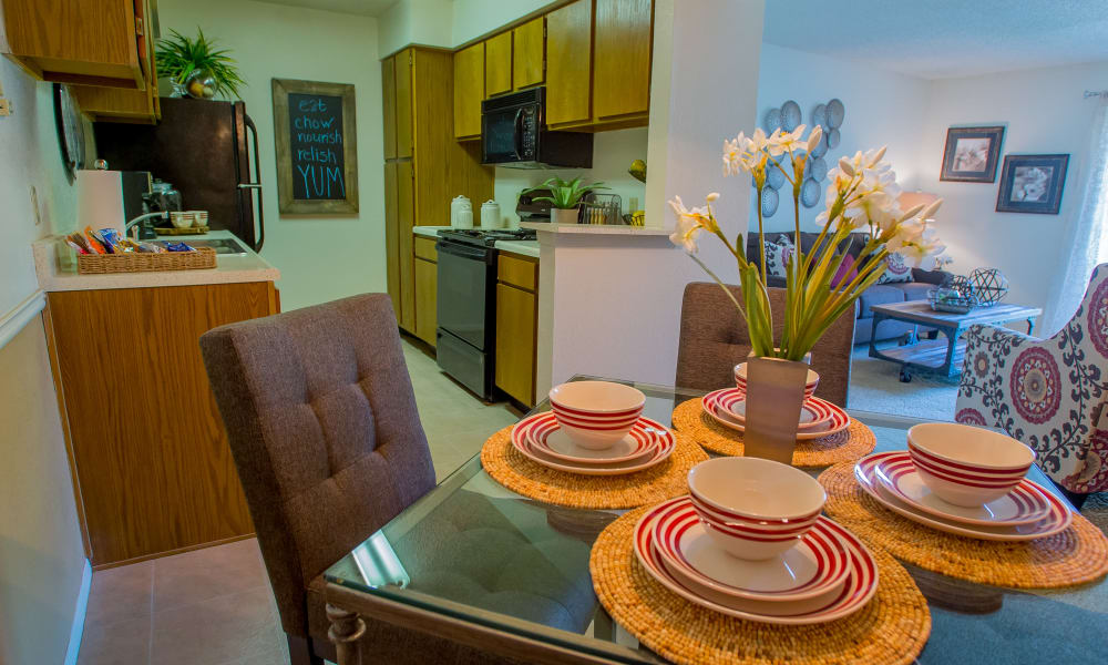 A well decorated dining room table at Cedar Glade Apartments in Tulsa, Oklahoma