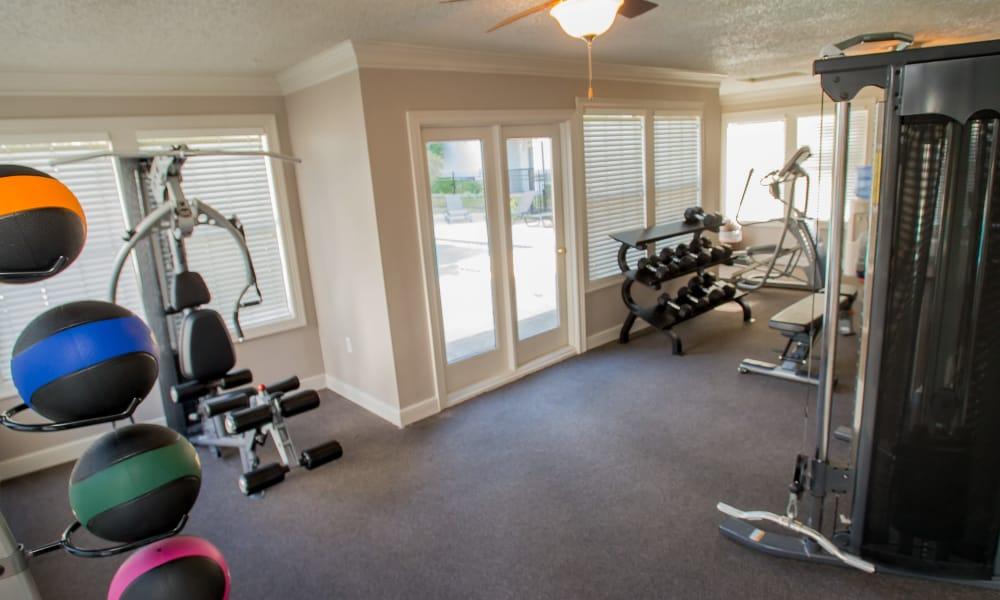 Fitness center at Cedar Glade Apartments in Tulsa, Oklahoma
