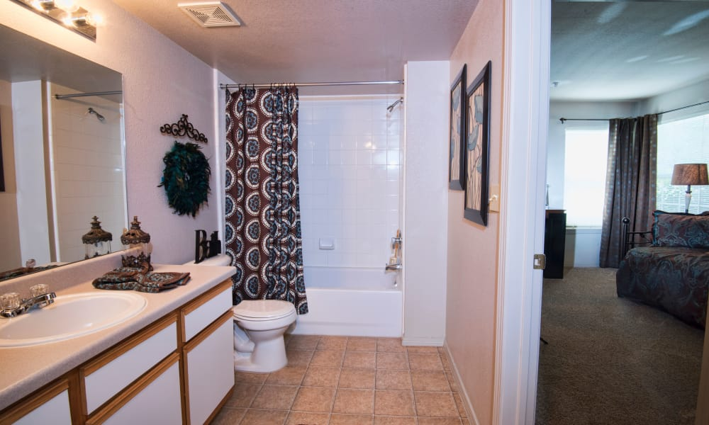Spacious bathroom at Crown Chase Apartments in Wichita, Kansas