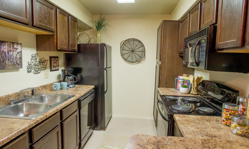 Fully equipped kitchen at Sugarberry Apartments in Tulsa, Oklahoma