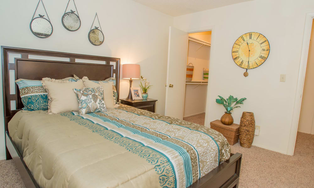 Cozy bedroom at Sugarberry Apartments in Tulsa, Oklahoma