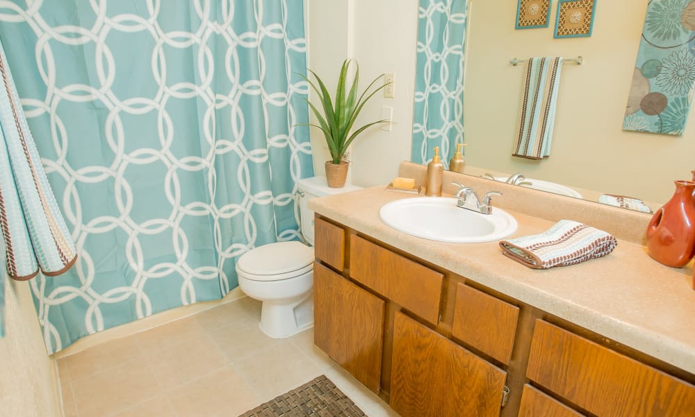 Clean bathroom at Sugarberry Apartments in Tulsa, Oklahoma