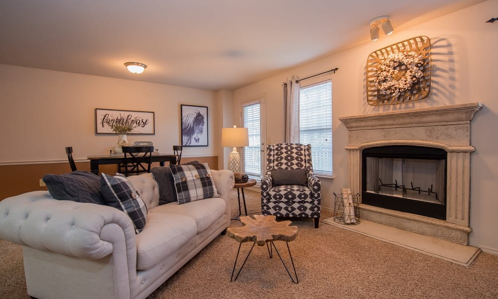 Cozy living room at The Park on Westpointe in Yukon, Oklahoma