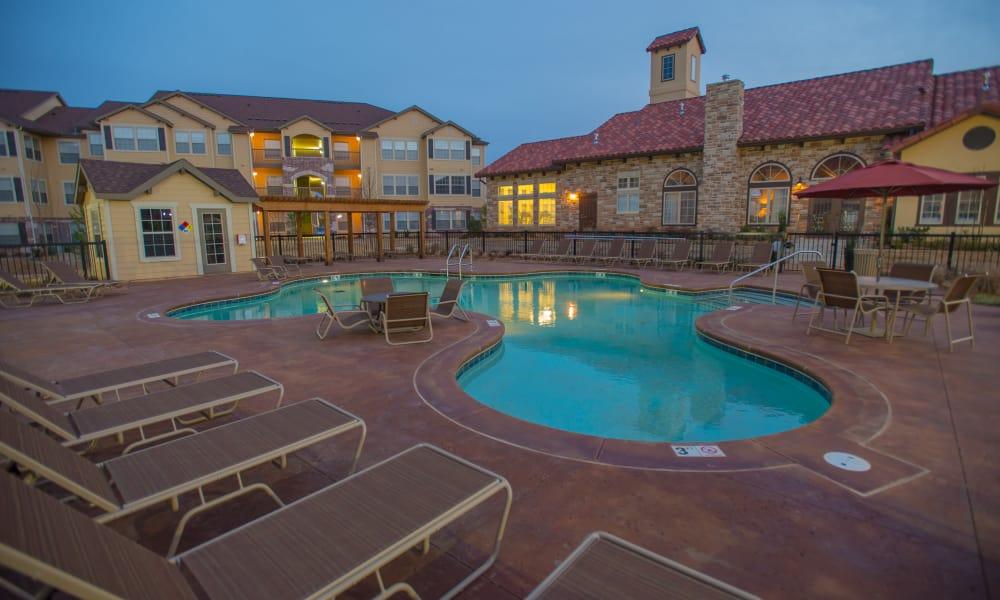 Poolside seating at Park at Tuscany in Oklahoma City, Oklahoma