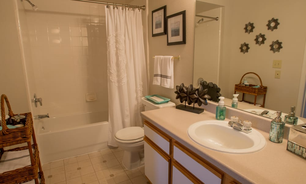 An apartment bathroom at Crown Pointe Apartments in Oklahoma City, Oklahoma