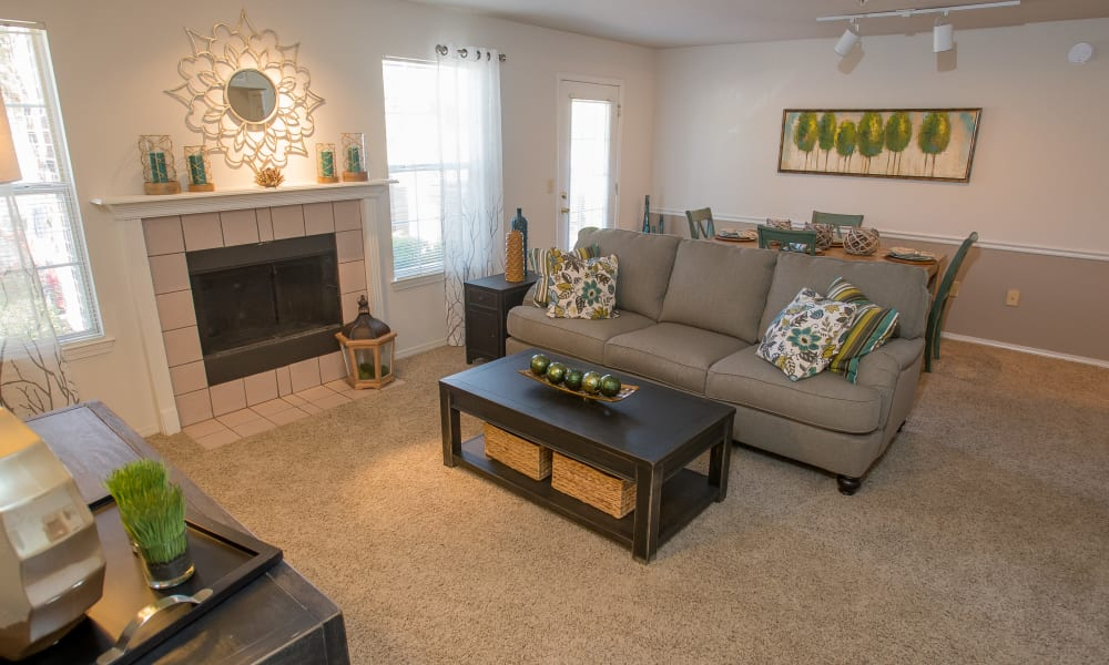 An apartment living room at Crown Pointe Apartments in Oklahoma City, Oklahoma