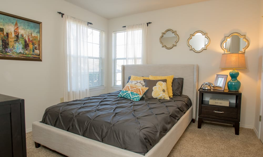 An apartment bedroom at Crown Pointe Apartments in Oklahoma City, Oklahoma