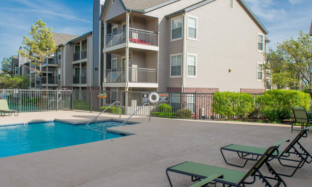The pool area at Crown Pointe Apartments in Oklahoma City, Oklahoma