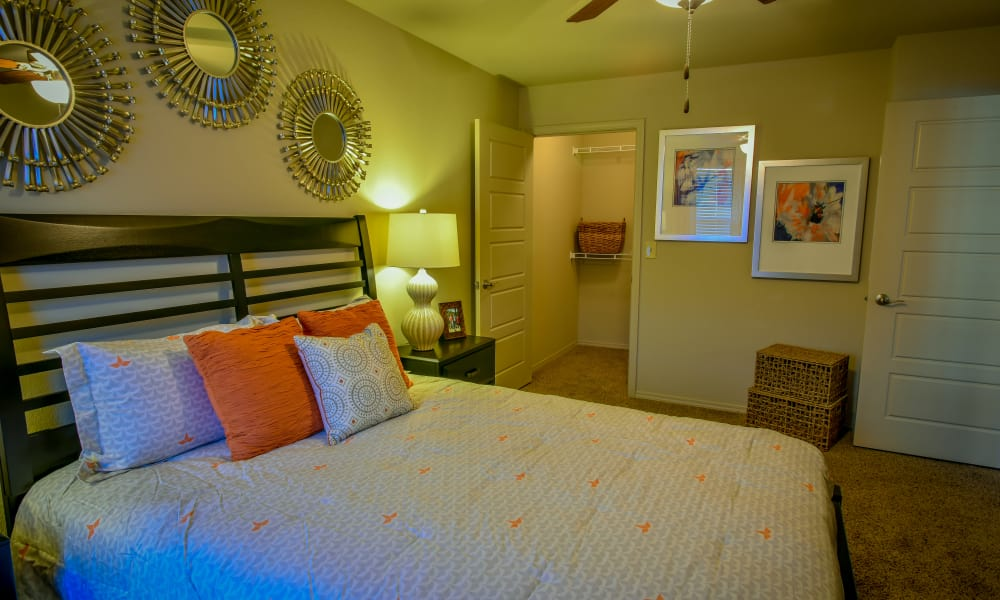 A well decorated bedroom at The Icon at Lubbock in Lubbock, Texas