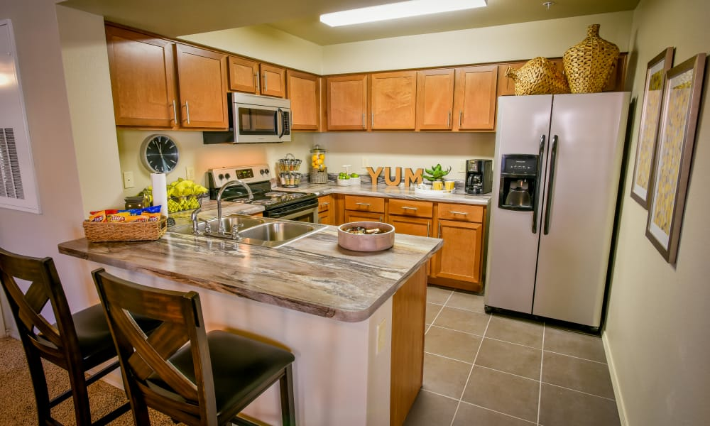 Kitchen with ample counter space at The Icon at Lubbock in Lubbock, Texas