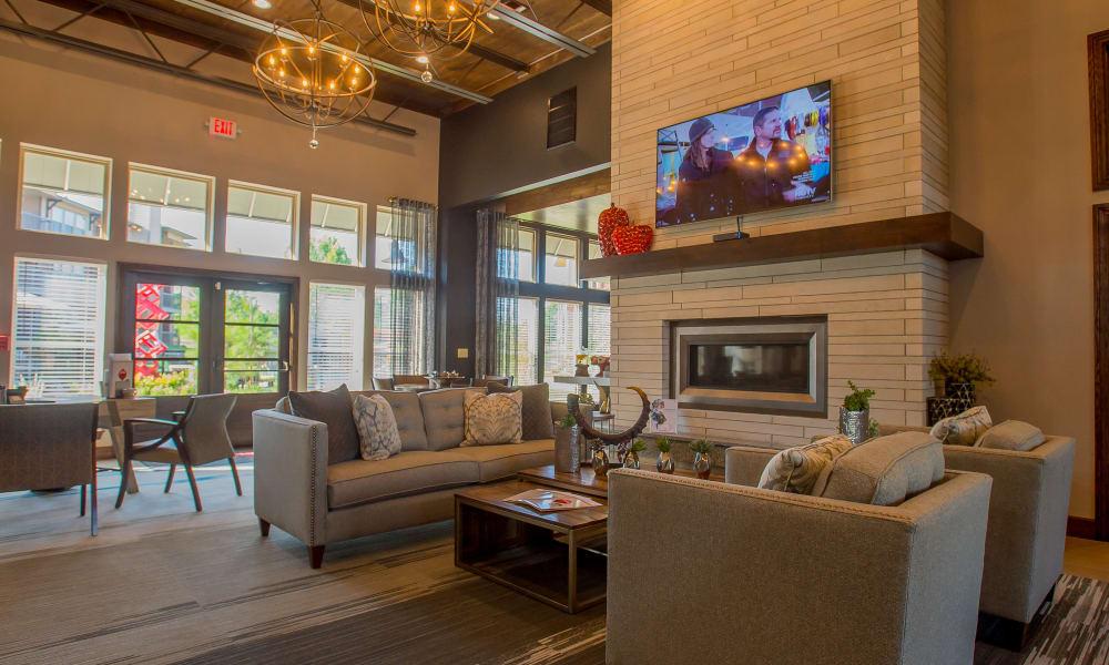Comfortable fireside seating at Icon at Broken Arrow's clubhouse in Broken Arrow, Oklahoma