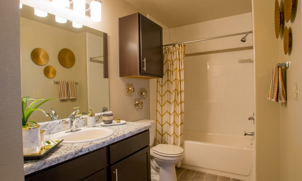 Bathroom with an extra cabinet at Icon at Broken Arrow in Broken Arrow, Oklahoma