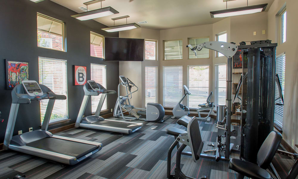 Fully equipped gym for residents at Icon at Broken Arrow in Broken Arrow, Oklahoma
