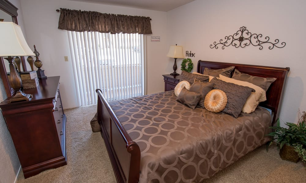 Beautiful model bedroom at Windsail Apartments in Tulsa, Oklahoma