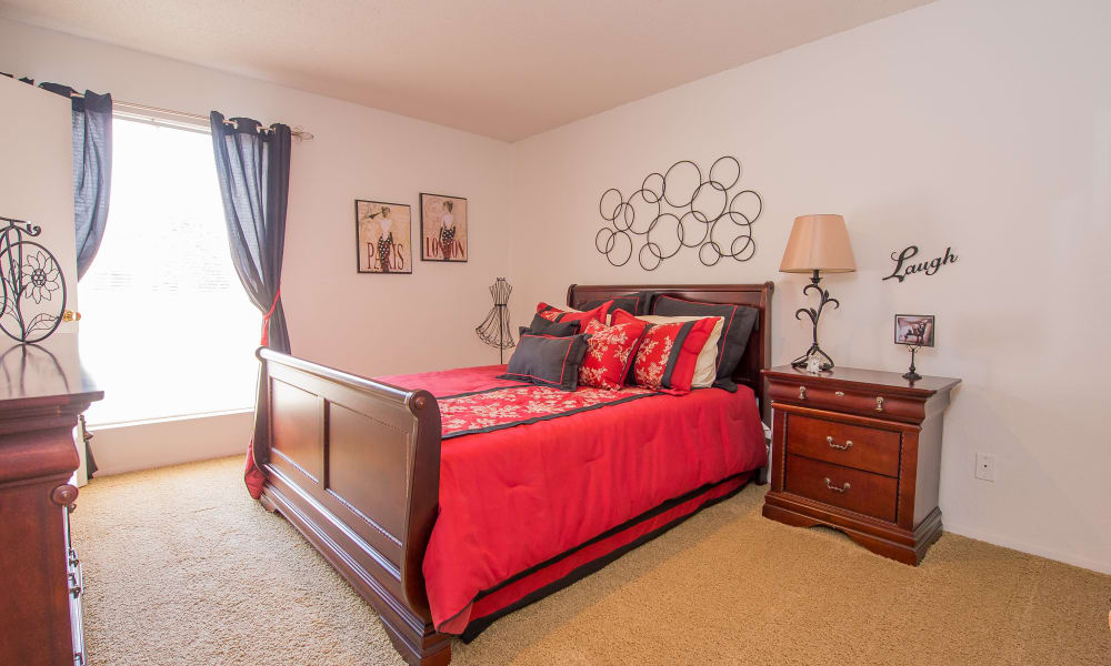 Naturally lit model bedroom at Windsail Apartments in Tulsa, Oklahoma