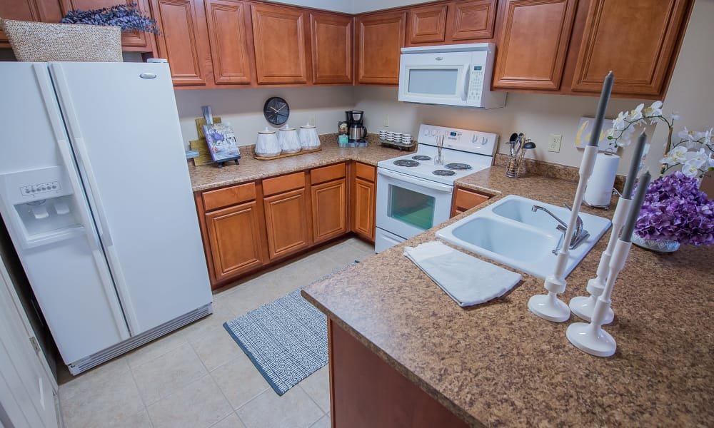 A large apartment kitchen at Prairie Springs in Oklahoma City, Oklahoma