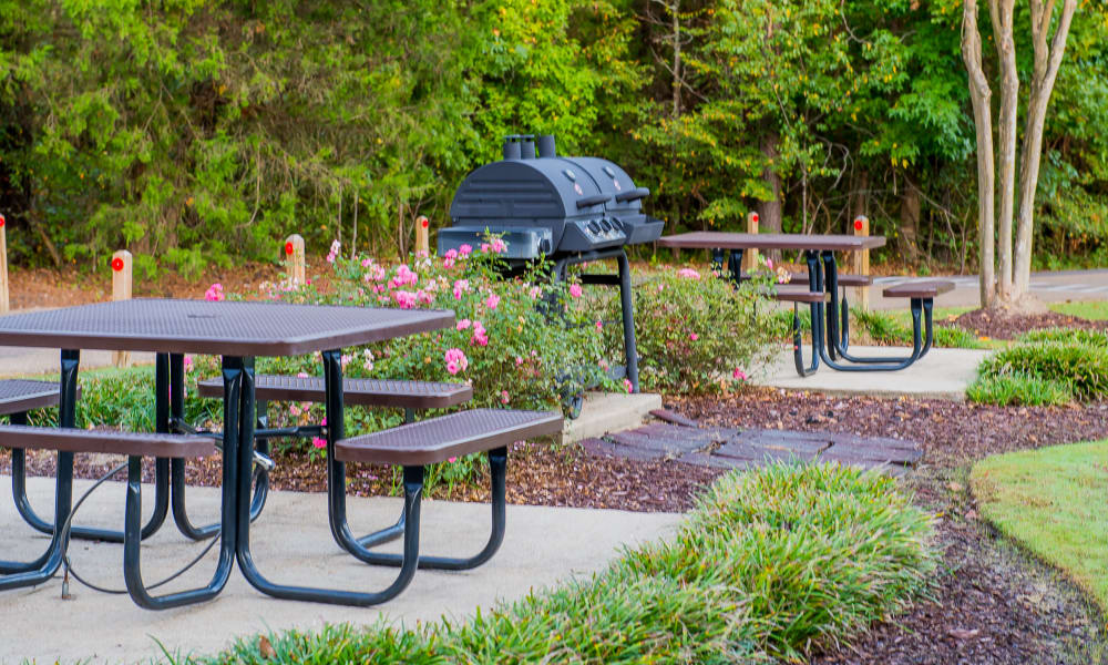 Two picnic tables by a grill at The Pointe of Ridgeland in Ridgeland, MS