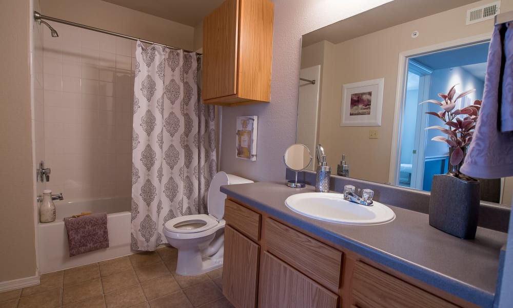 Bathroom at The Remington Apartments in Wichita, Kansas