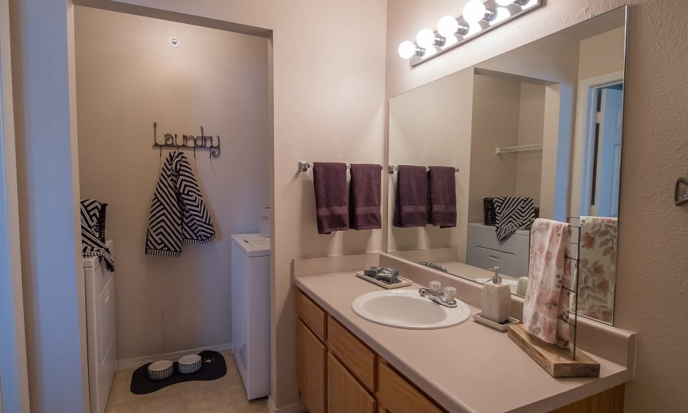 Well-lit bathroom at The Remington Apartments in Wichita, Kansas