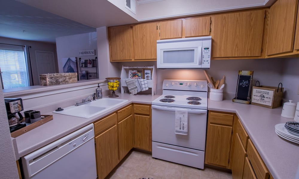 Kitchen with ample counter space at The Remington Apartments in Wichita, Kansas
