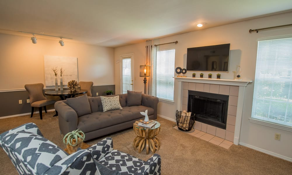 The Remington Apartments offers a spacious living room in Wichita, Kansas