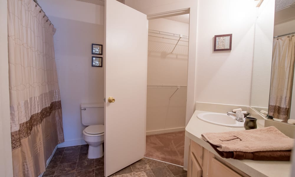 An apartment bathroom at The Trace of Ridgeland in Ridgeland, MS