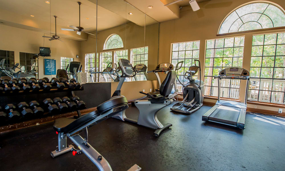 Fully equipped gym for residents at The Trace of Ridgeland in Ridgeland, Mississippi