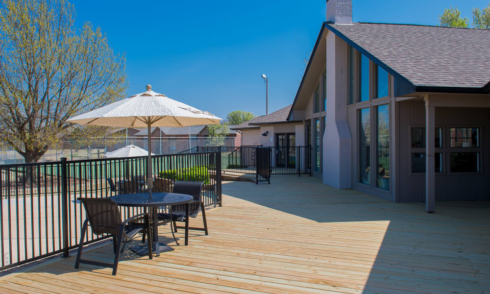 A large deck with seating at Waters Edge in Oklahoma City, OK