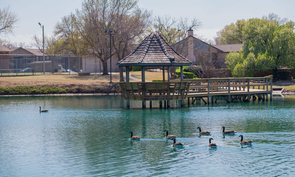 The pond in front of Waters Edge in Oklahoma City, OK