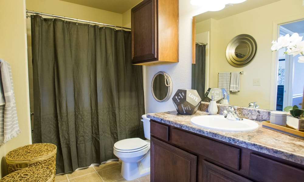 Large bathroom with plenty of counter space at Tuscany Hills at Nickel Creek in Tulsa, Oklahoma