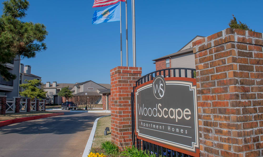 Sign at Woodscape Apartments in Oklahoma City, Oklahoma