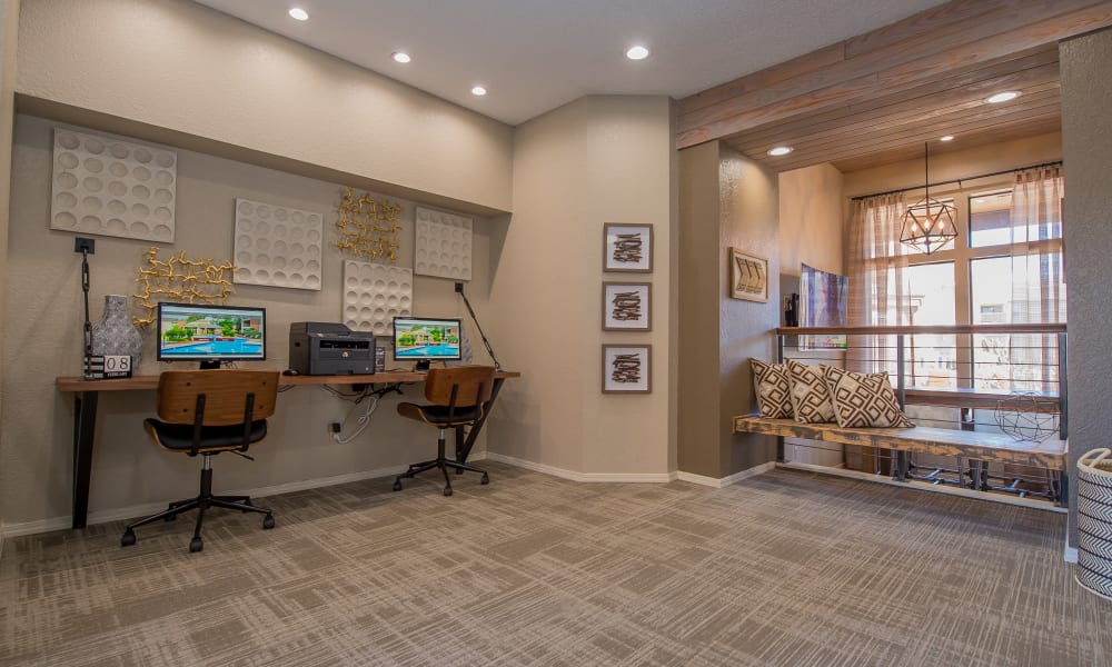 Computer room with printer access at Woodscape Apartments in Oklahoma City, Oklahoma