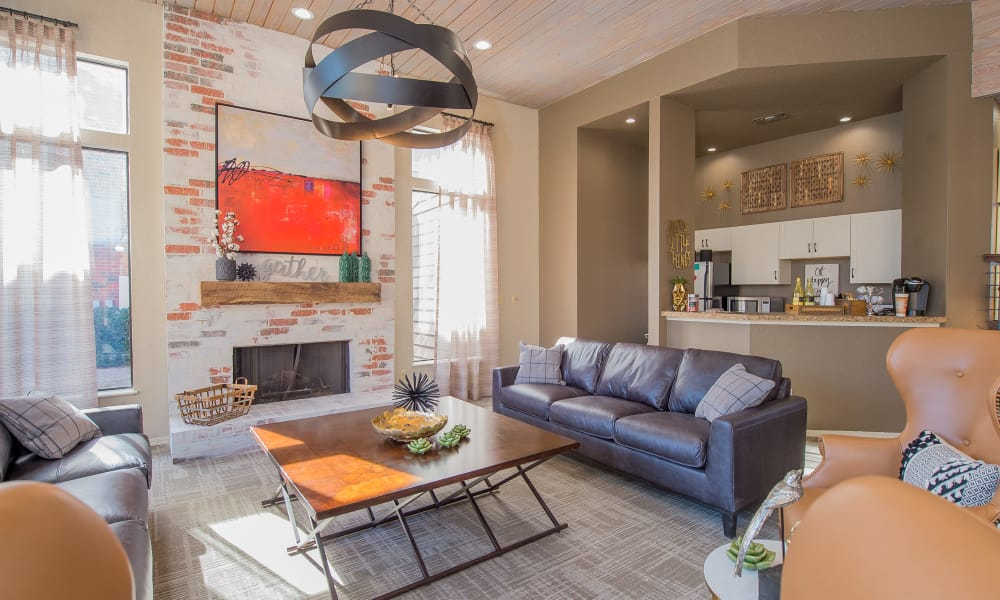 Clubhouse with fireside seating at Woodscape Apartments in Oklahoma City, Oklahoma
