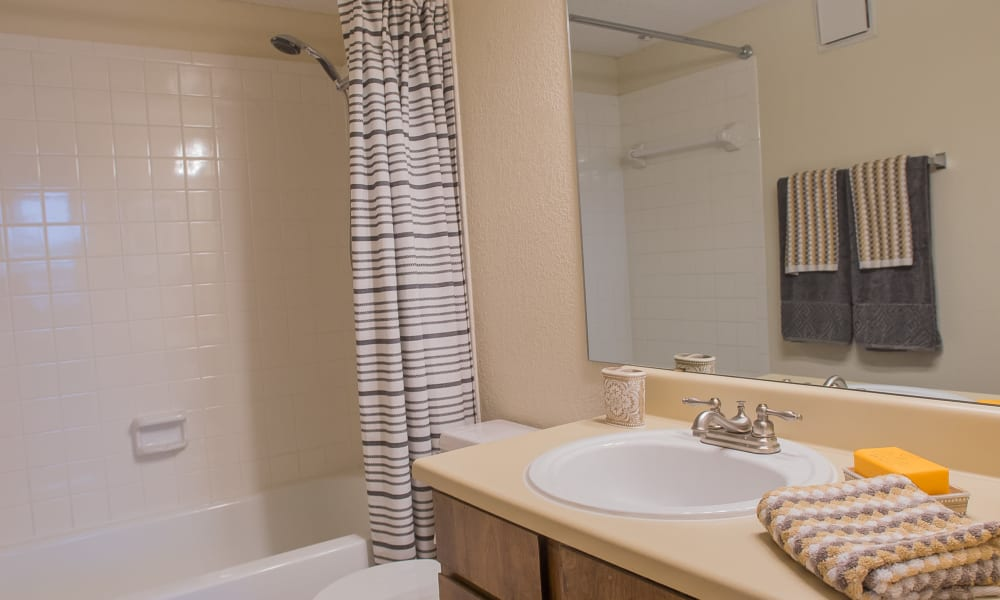 Bathroom at Woodscape Apartments in Oklahoma City, Oklahoma
