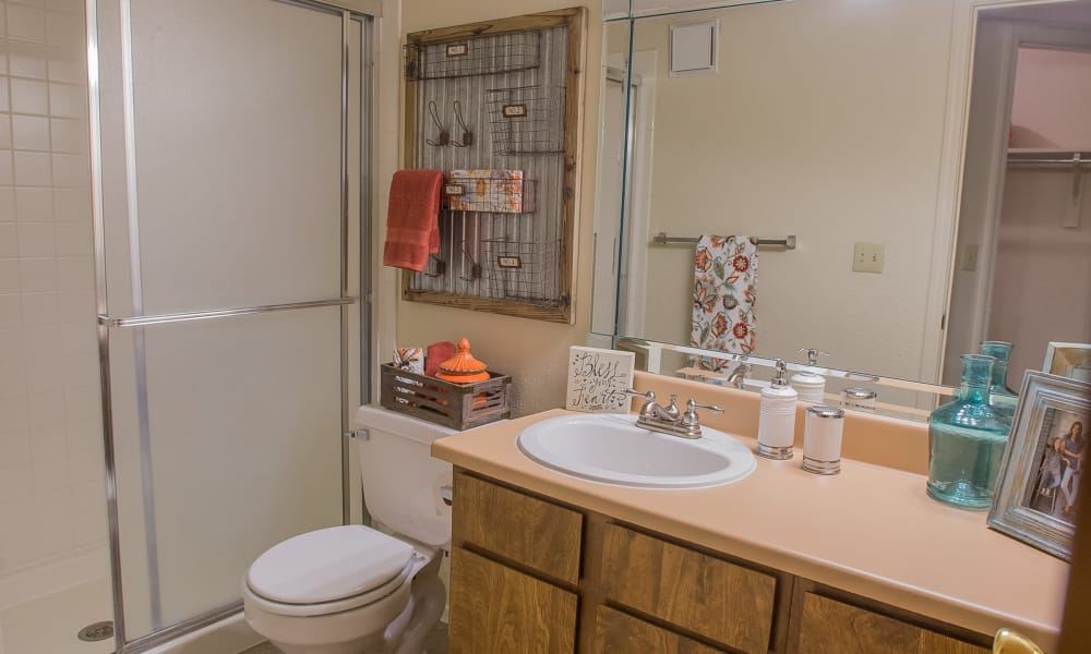Large bathroom with plenty of counter space at Woodscape Apartments in Oklahoma City, Oklahoma