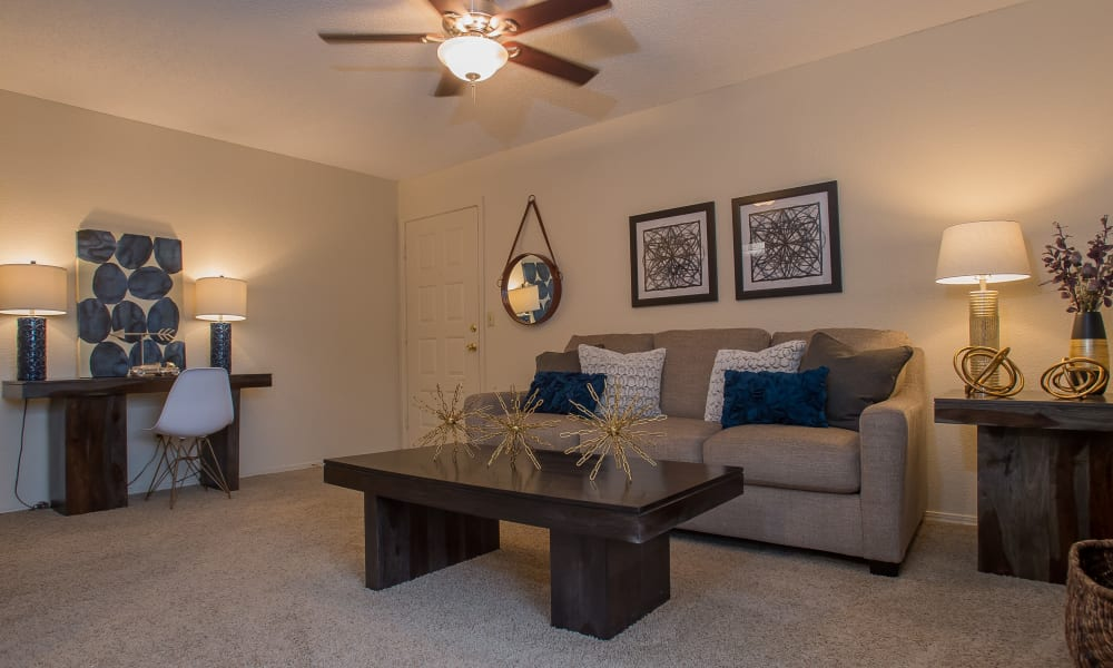 Beautiful living room at Woodscape Apartments in Oklahoma City, Oklahoma