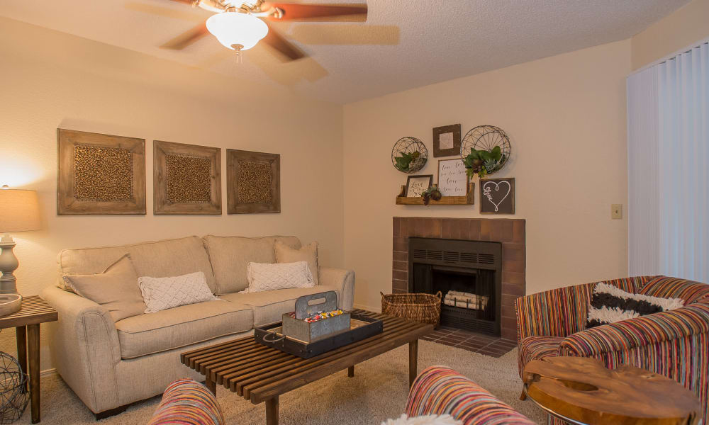 Spacious living area at Woodscape Apartments in Oklahoma City, Oklahoma