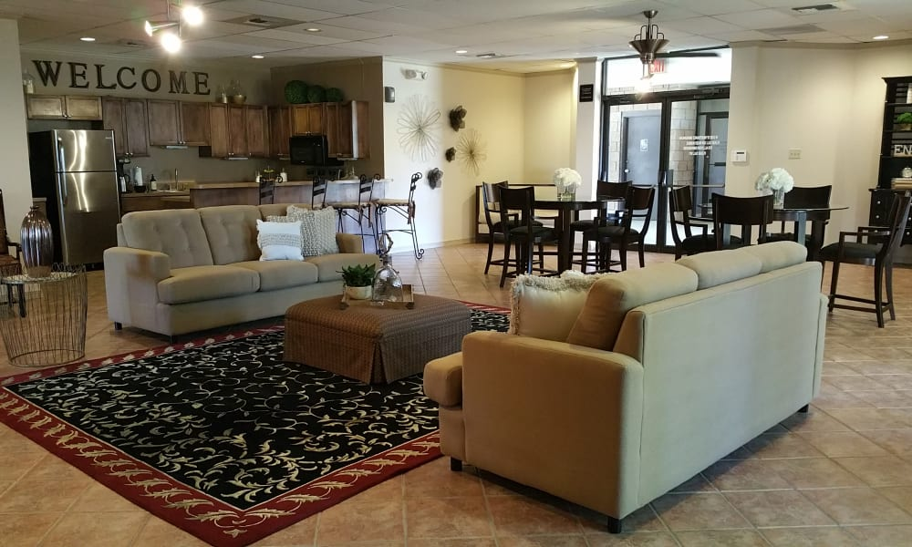 Seating in the clubhouse at Acacia Park Apartments in El Paso, Texas