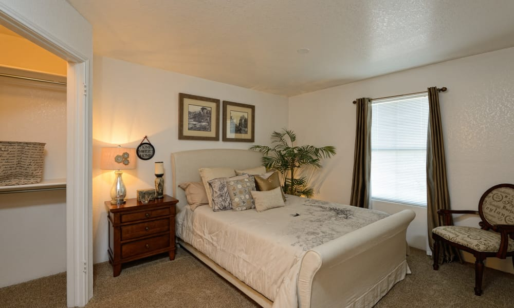 An apartment bedroom at Acacia Park Apartments in El Paso, Texas