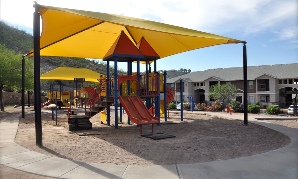 Covered play area at Acacia Park Apartments in El Paso, Texas