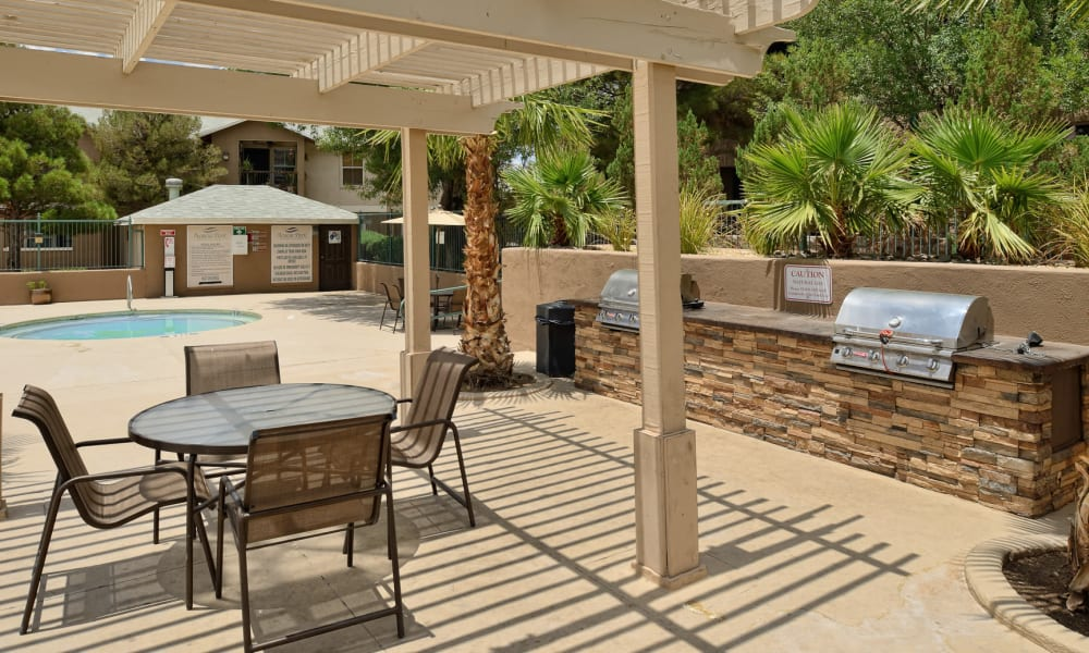 An outdoor patio area at Acacia Park Apartments in El Paso, Texas