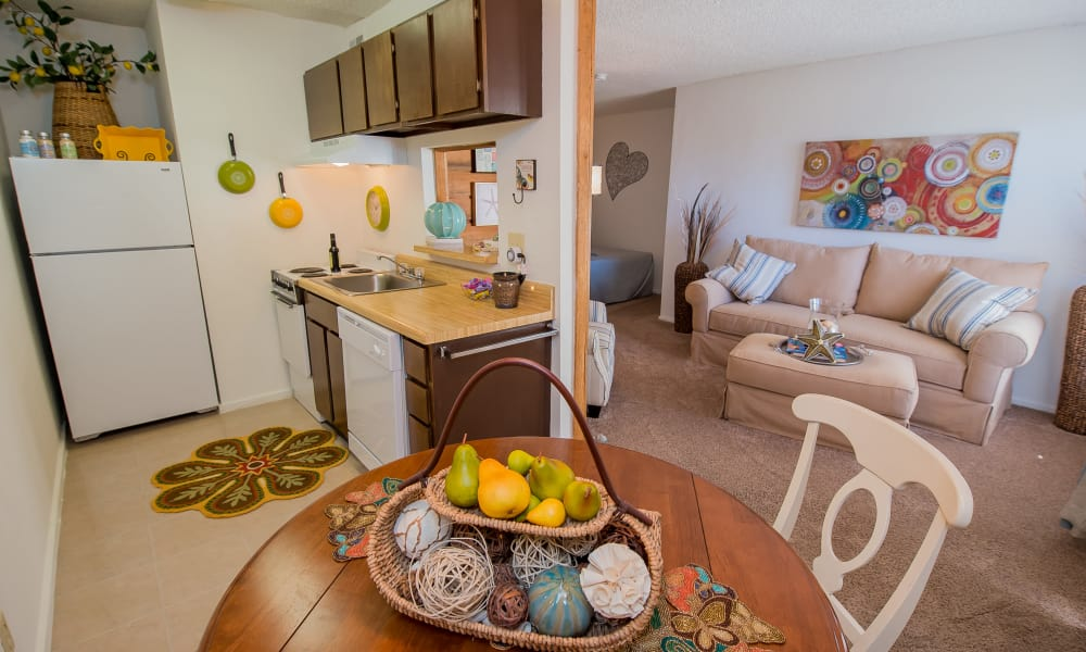 Bright dining room at Fox Run Apartments in Wichita, Kansas