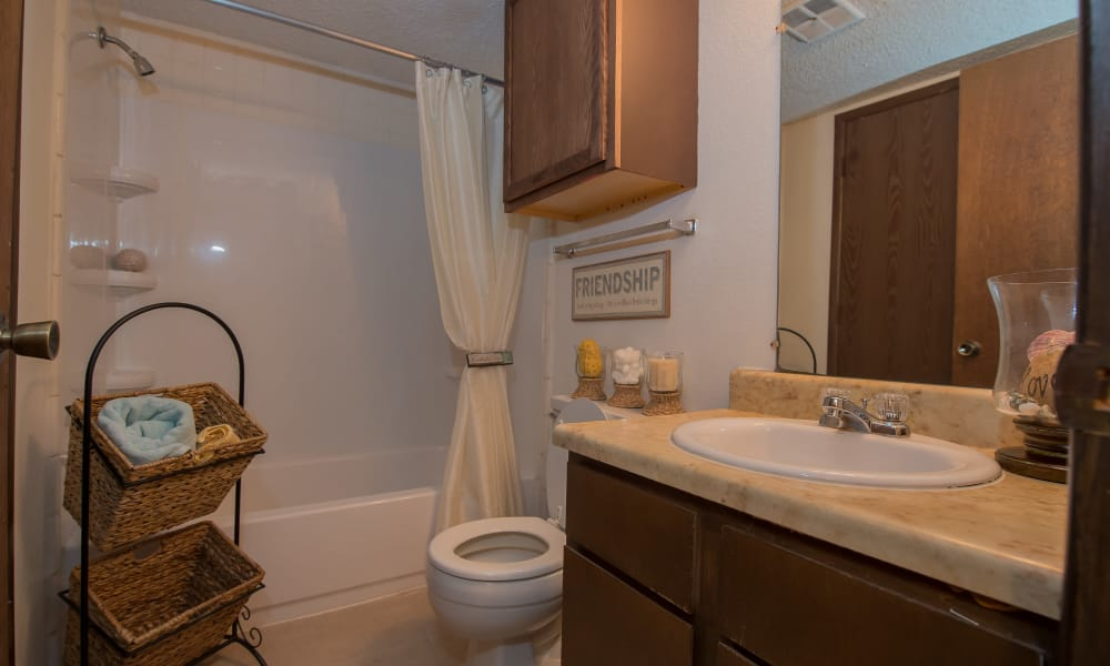 Bathroom at Fox Run Apartments in Wichita, Kansas